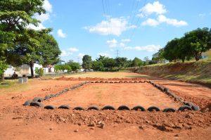 Em construção, complexo esportivo do 'linhão' do Jardim Nova Terra terá mini pista de mountain bike