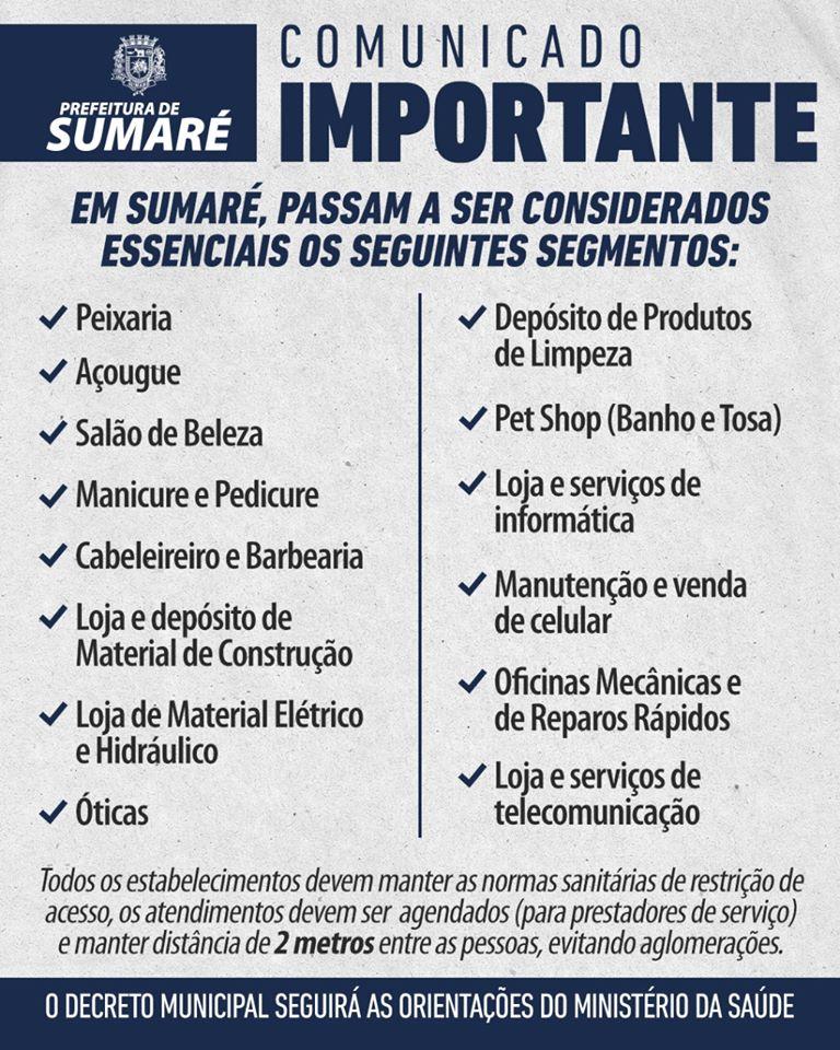 Veja os comércios que podem abrir em Sumaré depois da nova normativa