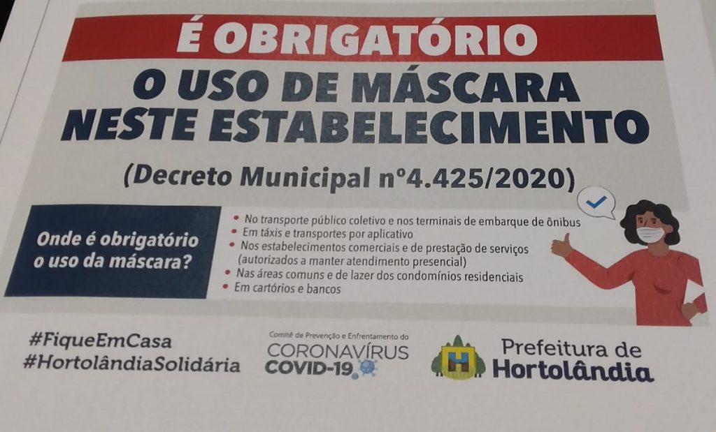 Prefeitura disponibiliza cartaz gratuito sobre uso obrigatório de máscaras na cidade
