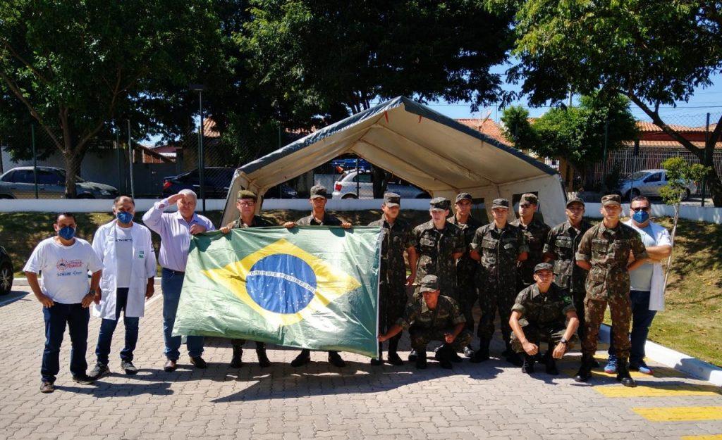 Exército Brasileiro montam barracas na UBS do Bairro Matão, para triagem e enfrentamento do COVID-19