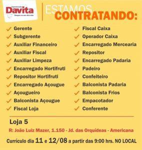 Supermercado Davita abre vagas de emprego mais de cargos diferentes