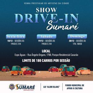 Sumaré promove Drive-In de Cultura neste fim de ano. Confira a programação
