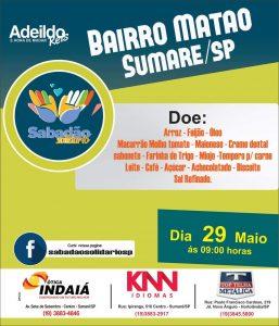 """""""Sabadão Solidário"""" acontecerá neste sábado (29) a partir das 09:00 no Bairro do Matão - Sumaré/SP"""